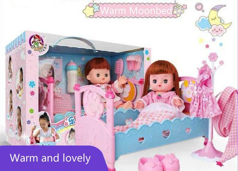 Cultiver une bonne habitude de mon bébé chaud lune lit doux en caoutchouc bébé fille anniversaire maison Imitation jouet cadeau d'anniversaire