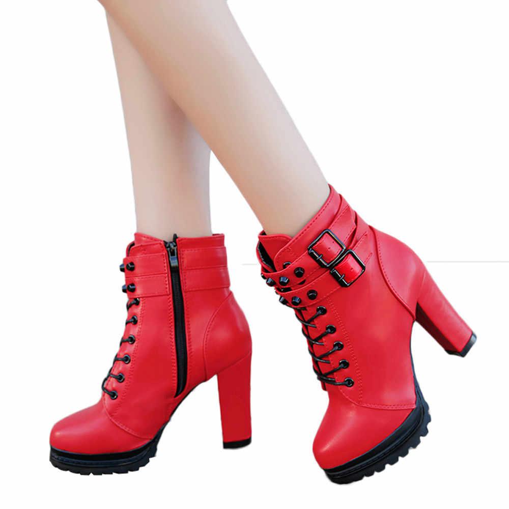 Çizmeler Kadın Yüksek Topuk Patik Dantel Gotik Ayakkabı Moda Kış Deri Çizmeler Kadınlar Katı Siyah Punk Stiefel
