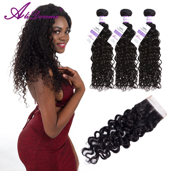 Brazilian Water Wave 3 Bundles With Closure Human Hair Bundles Remy Human Hair Weave 4 Pcs /lot Alidoremi Hair