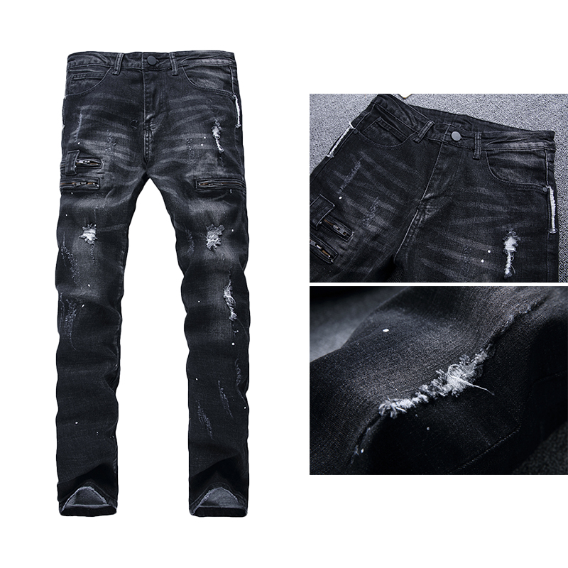 1pcs Autumn And Winter Men's Jeans Elastic Slim Cotton  Pants Straight Trousers Men's Stretch Slim Straight Motorcycle Jeans