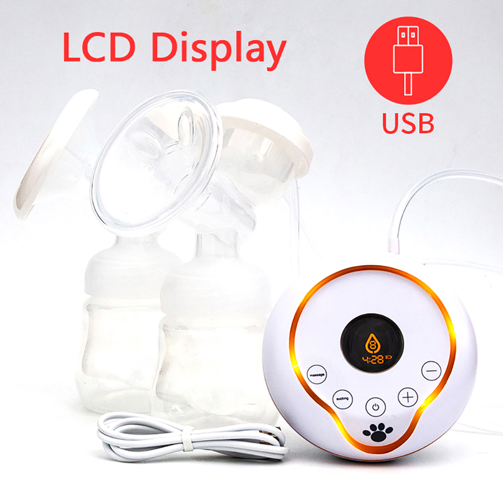 Intelligent LCD Electric Breast Pump Breast Feeding Automatic Massage USB Double Bottles Electric Breast Pumps Mar16