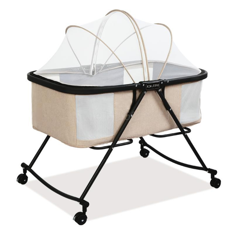 Baby Bed Foldable Portable Baby Bed Multifunctional Cradle Bed For Newborns Comfort Bb Bed With Roller