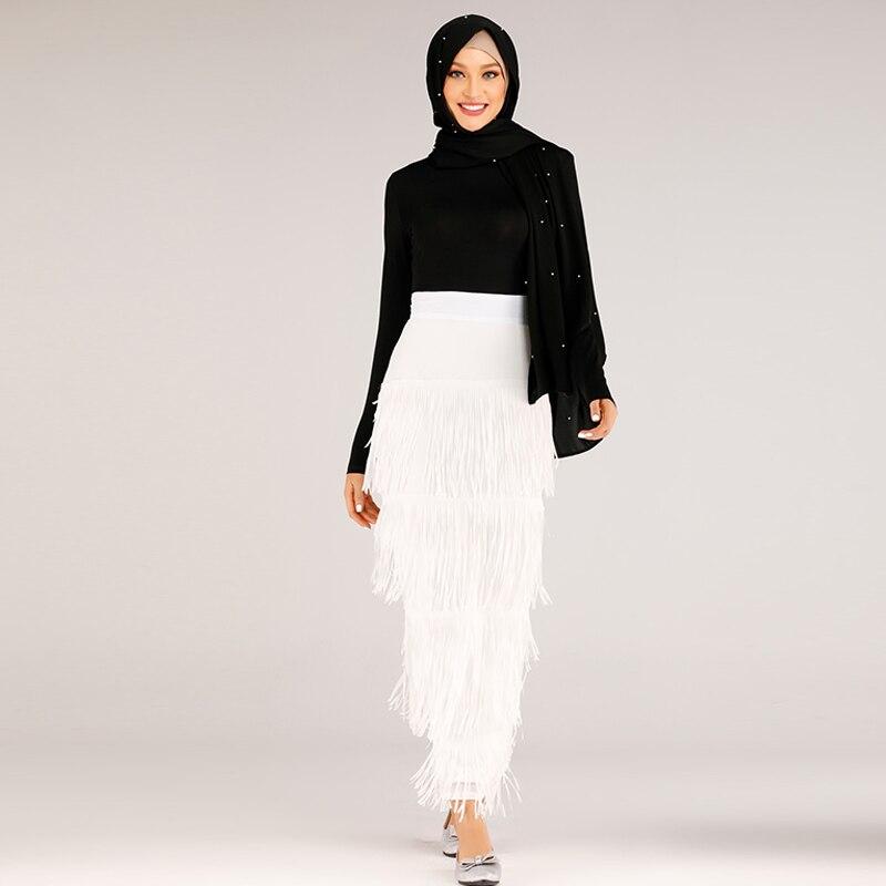 Tassel Long Skirt Muslim Women Bottom Abaya Turkey Islamic Moslim Skirts Elbise Musulman Vetement Femme Dubai Jupe Musulmane