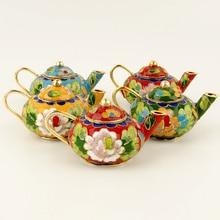 6 шт. Пекинская перегородчатая чайник ремесла шелковая эмаль украшения
