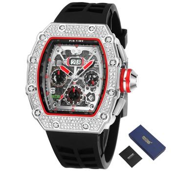 Cool Sport Watch Men Chronograph Diamond Hip Hop Mens Wacthes Top Brand Luxury Military Gold Wristwatch Reloj Relogio Masculino