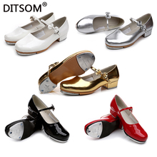 Child Slide Buckle with Bow Tap Shoes Shiny Patent Leather  Non skid Rubber Pad Tap Dance Shoes For Girls Women size 23 42