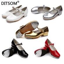 Criança slide fivela com arco torneira sapatos de couro de patente brilhante não skid almofada de borracha tap sapatos de dança para meninas tamanho 23 42