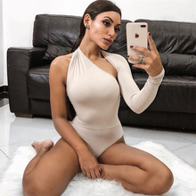 High Street Sexy Women Backless One Shoulder Long sleeve Jumpsuit Bodycon Bodysuit