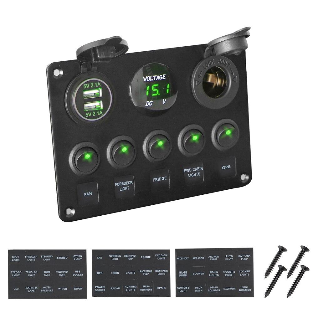 LEEPEE กันน้ำดิจิตอลโวลต์มิเตอร์พอร์ต USB คู่พอร์ต 12V OUTLET ผสมรถเรือ Marine LED Rocker แผงสวิตช์