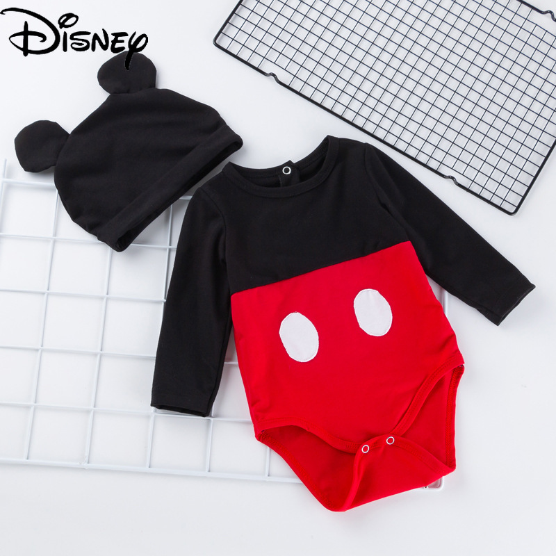 Disney Mickey Mouse baby spring and autumn long-sleeved romper newborn clothes hat suit autumn and winter baby bag fart clothes
