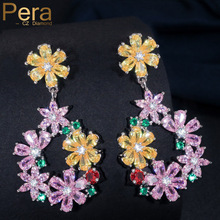 Pera Trendy Silver Color Ear Jewelry AAA+ Yellow Pink Green Red Crystal Stone Big Dangle Long Flower Drop Earring For Women E170