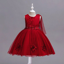 цена на Kids Infant Girl Flower Petals Dress Children Bridesmaid Toddler Elegant Dress Vestido Infantil Formal Party Dress Wine red