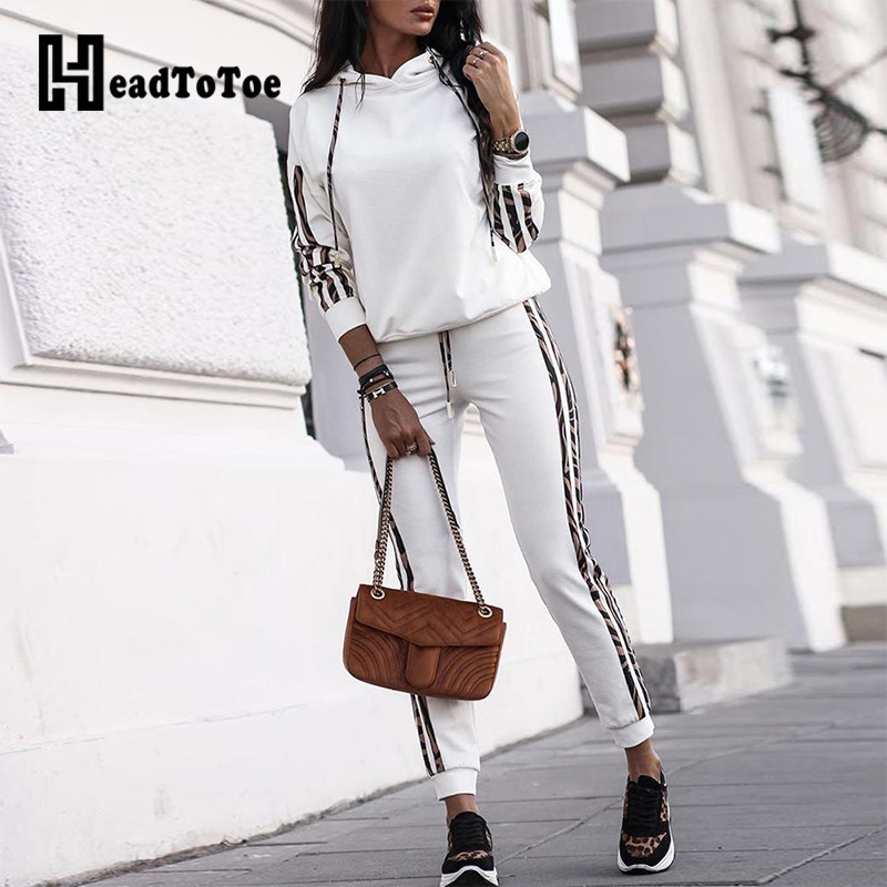 Striped Drawstring Design Hooded Top & Casual Pant Sets Women Two Piece Outfits Autumn Casual Sweat Suits Women