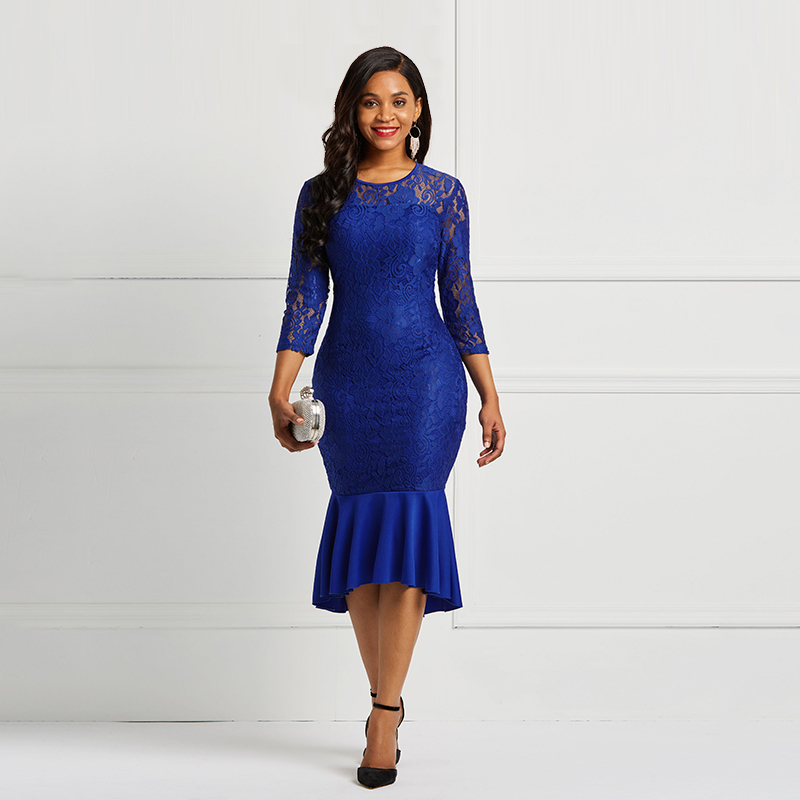 Blue Scoop Neck Lace Elegant Cocktail Dress 3/4 Sleeves Zipper Up Mermaid Tea Length Party Formal Women Cocktail Dresses