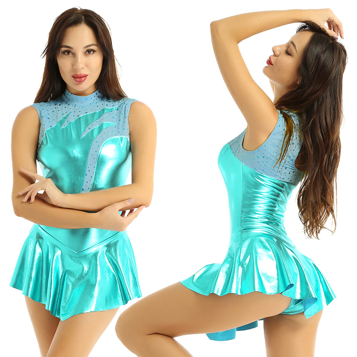 Adults Shiny Metallic High Neck Sleeveless Figure Skating Dress Women Ballet Gymnastics Leotard Dance Competition Costume
