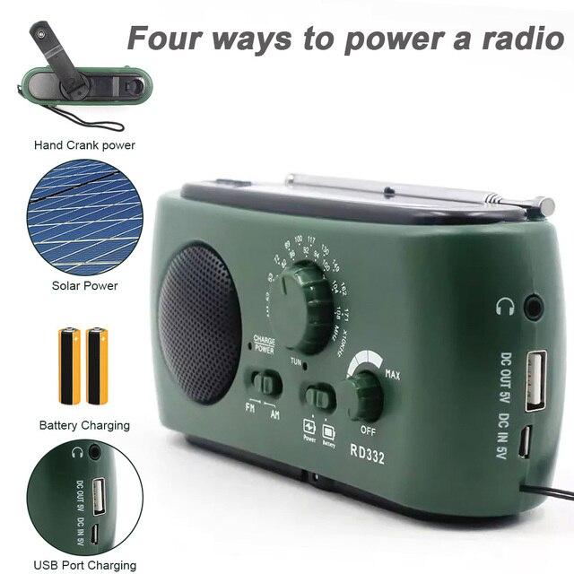Mới Chạy Bằng Năng Lượng Mặt Trời Đài FM Tay Quay Máy Phát FM/AM Khẩn Cấp Radio 3 Đèn LED Khẩn Cấp Sạc Báo Động Di Động đài FM