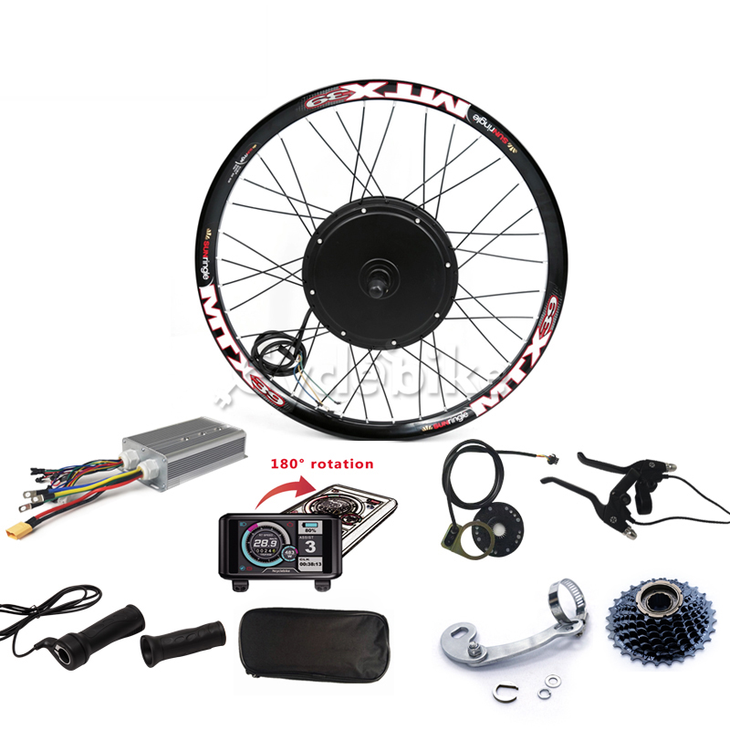 Sine wave Controller <font><b>Electric</b></font> bike kit 72v <font><b>5000W</b></font> Rear Motor Wheel <font><b>Electric</b></font> <font><b>bicycle</b></font> kit with TFT display image