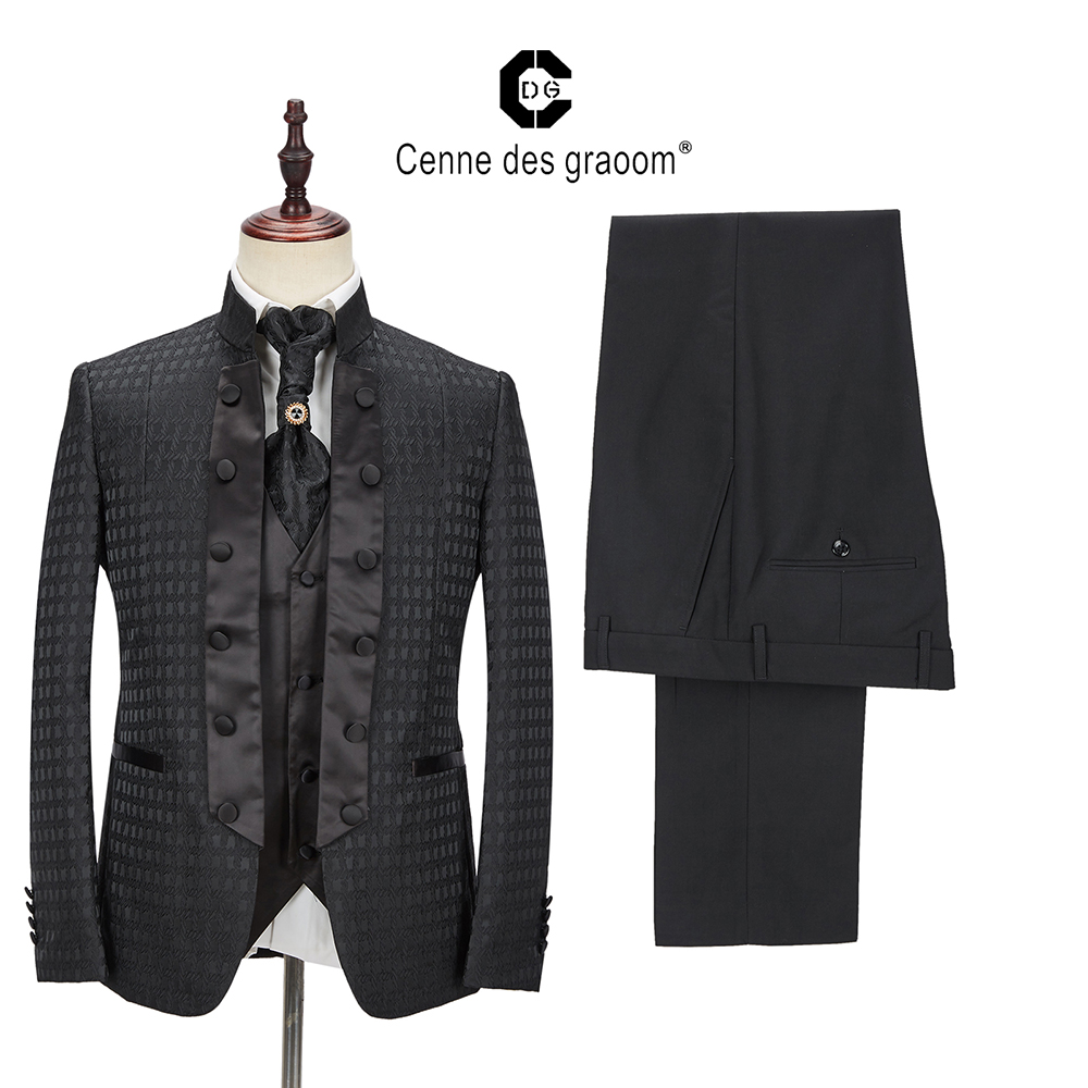 2020 Cenne Des Graoom New Men Suit Tailor-Made Suits Costume 4 Pieces Blazer Pants Ties  Wedding Party Groom Tuxedo DG-A3 Black