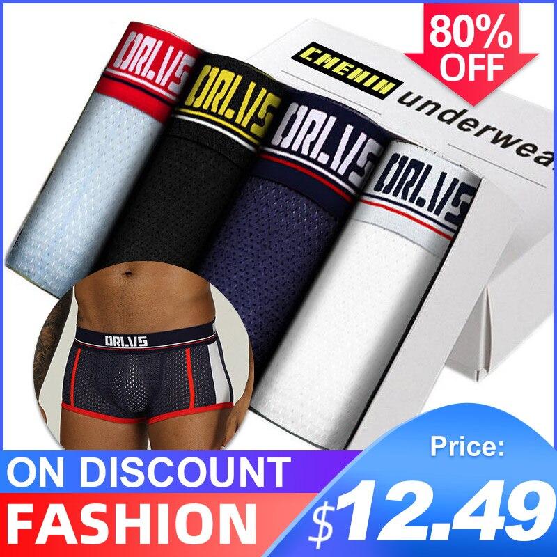 4Pcs/lot CMENIN New Brand Cotton Solid Low Waist Underwear Mens Boxer Homme Trunks Boxer Men Undeware Boxers Transparent OR193