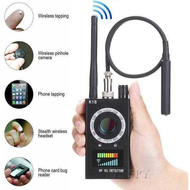 K18 scanner de sinal rf sem fio, detector de sinal escondido, câmera anti aderente, gps magnético, mini áudio gsm localizador