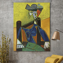 Picasso Woman Sitting In An Armchair Canvas Posters Prints Wall Art Painting Decorative Picture Modern Bedroom Home Decoration