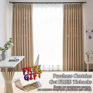 Image 3 - MAKEHOME Hollow Stars Blackout Curtains for Kids Bedroom Living Room Three Layers Fabrics Window Curtains Home Decor Stars Tulle