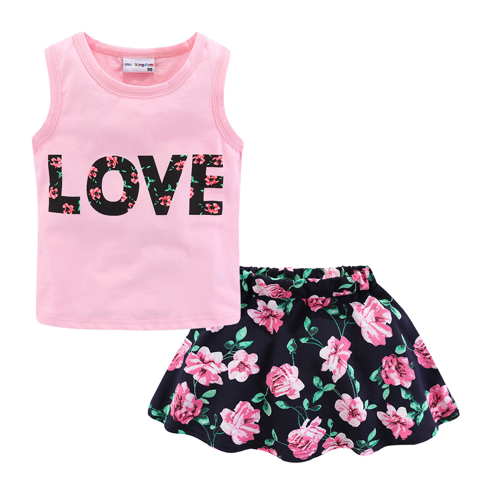 Mudkingdom Girls Clothes Set Love Summer Kids Tank Top and Skirt Outfit Children Cute Suits Fashion Happy Holiday Easter 3