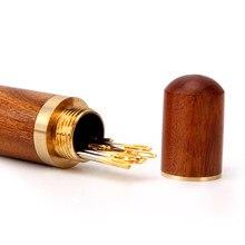 Tubo de agulha de madeira tubo de armazenamento de agulha com toque suave costura suprimentos domésticos diy agulha tubo de armazenamento não inclued agulha