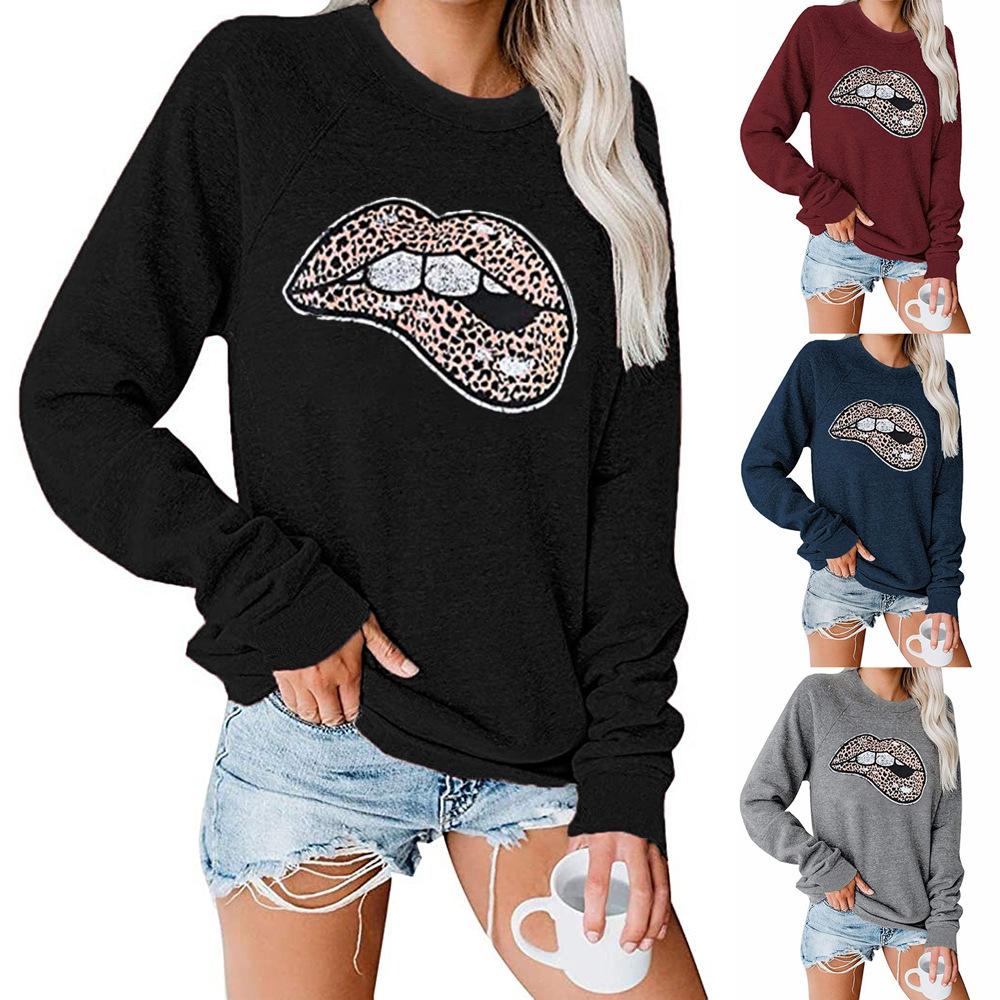 Осень 2020 женская одежда толстовка хлопок принт свитшоты Винтаж