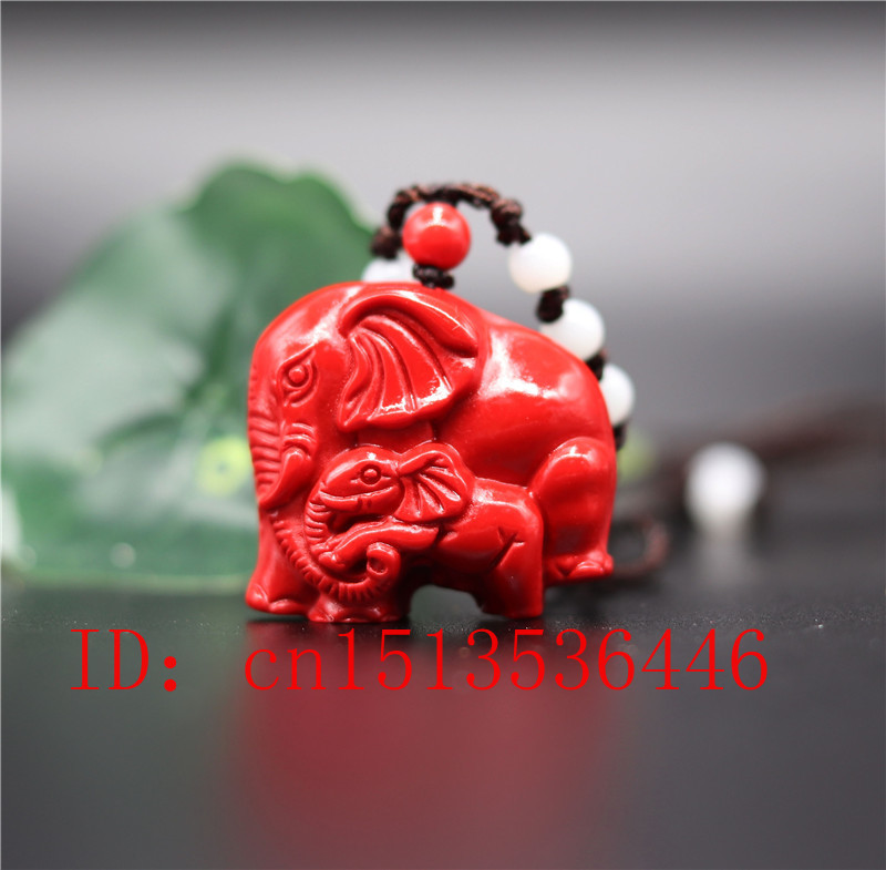 Chinese Natural Red Organic Cinnabar Mother-child Elephant Necklace Pendant Charm Jewellery Fashion Lucky Amulet Gifts