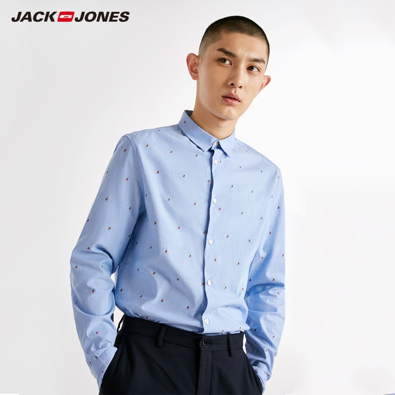 JackJones Men's 100% Cotton Style Turn-down Collar Long-sleeved Shirt 218405527