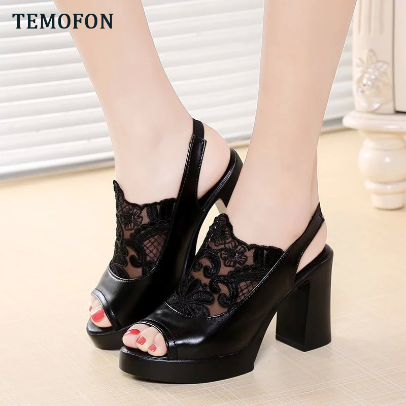 TEMOFON Women High Heel Shoes Platforms Shoes Sexy Peep Toe Women Sandals Summer Square Heel Ladies Pumps Party Shoes HVT1087