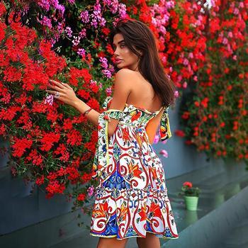 цена на Off shoulder floral print a line summer dress Women splice backless ruffles casual dress High waist lace up elegant ladies dress