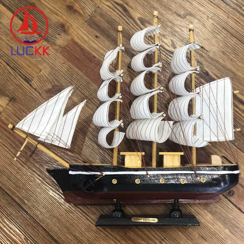 Luckk 33 cm ornamentos artesanais de madeira barcos à vela modelo náutico casa decoração retro navio artesanato de madeira presente aniversário lembranças crianças