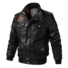 Mens New Winter Leather Coat Recreational Fan-proof Vehicle PU Jacket Faux Fur Coats Pu Jackets