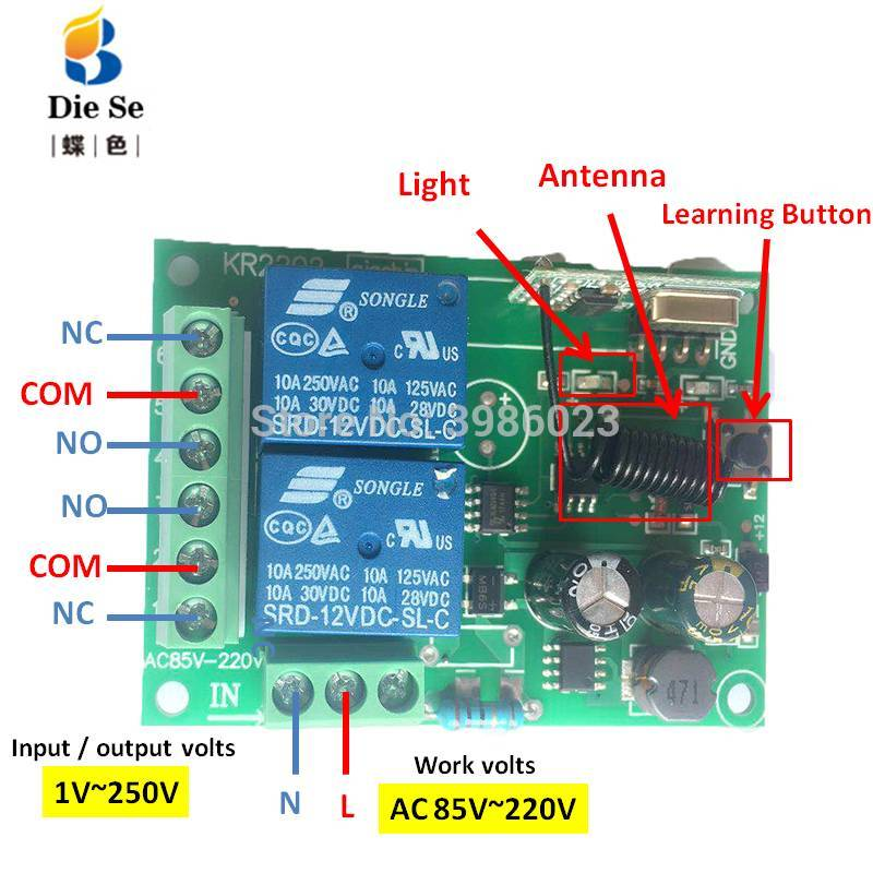 433Mhz Remote Control Switch for Light Door Garage Universal Remote AC 85V 250V 110V 220V 2CH Relay Receiver and Controller in Remote Controls from Consumer Electronics