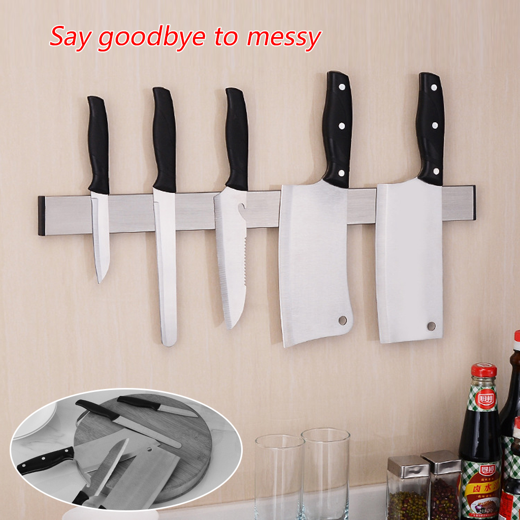 Magnetic Knife Holder 16 Inch Wall Strip Stainless Steel Knife Block Storage Scissor Rack Bar Kitchen Utensil Accessories A06