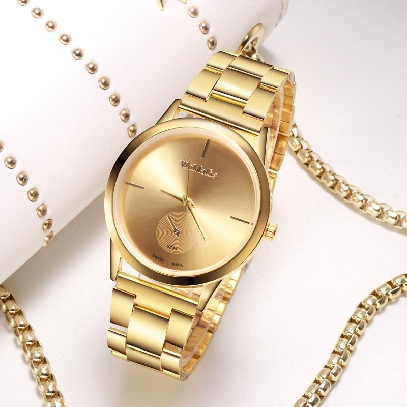 WoMaGe Fashion Luxury Rose Gold Stainless Steel Women Watch Ladies Watch Reloj Mujer Women Watches Montre Femme 2019 Clock Saati