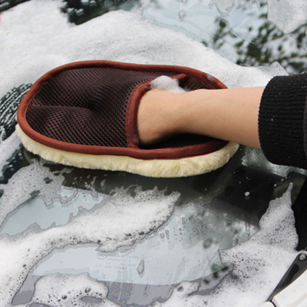 Winter Plush Car Wash Gloves Wiping Waxing Gloves Clean Polished Automobile Articles Fluffy Bear Paw Car Cleaning Beauty Tools