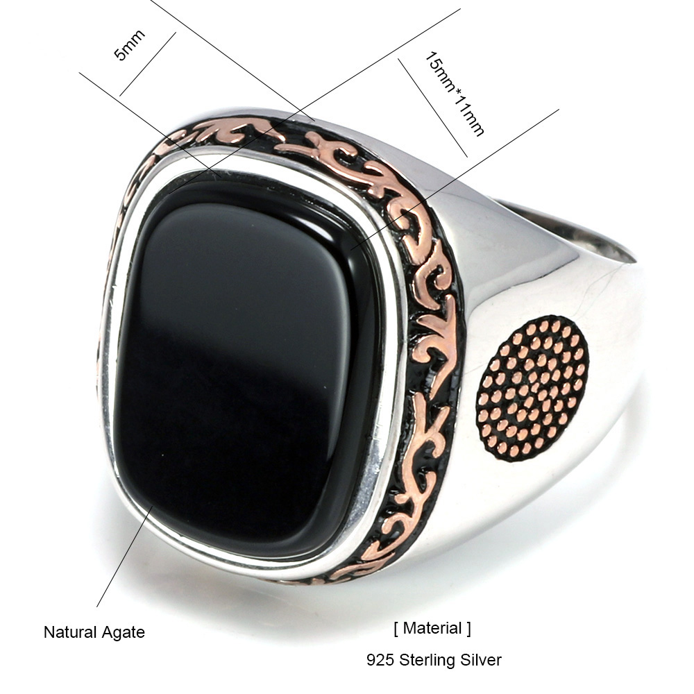 Image 5 - Real Pure Mens Rings Silver s925 Retro Vintage Turkish Rings For Men With Natural Black Onyx Stones Turkey JewelryRings   -