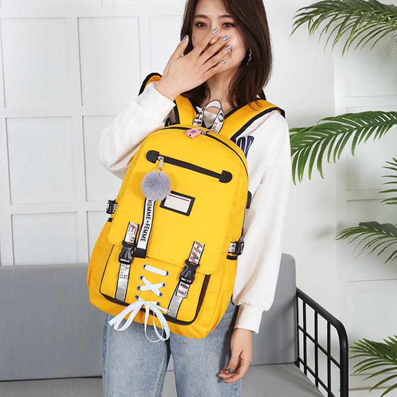 Hot Selling Large School Bag with USB Port Anti Theft <font><b>Backpack</b></font> Knapsack for School Travel -B5 image