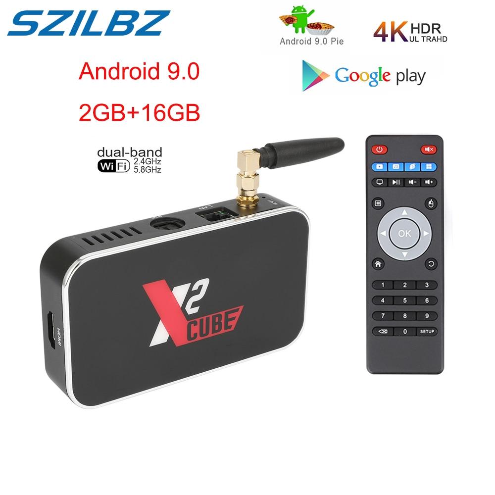 X2 CUBE Android9.0 Smart TV Box Amlogic S905X2 2G 16G 4G DDR4 32G Set Top Box 2.4G/5G WiFi 1000M  4K HD Media Player X2 PRO