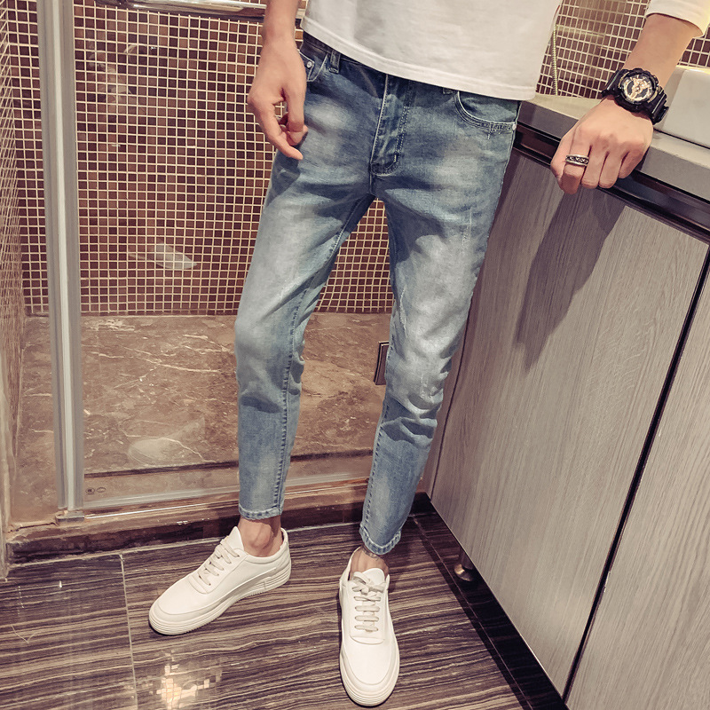 Autumn New Style 2019 Men Trend Casual Simple Korean-style Youth Popularity Slim Fit Pants Capri Jeans