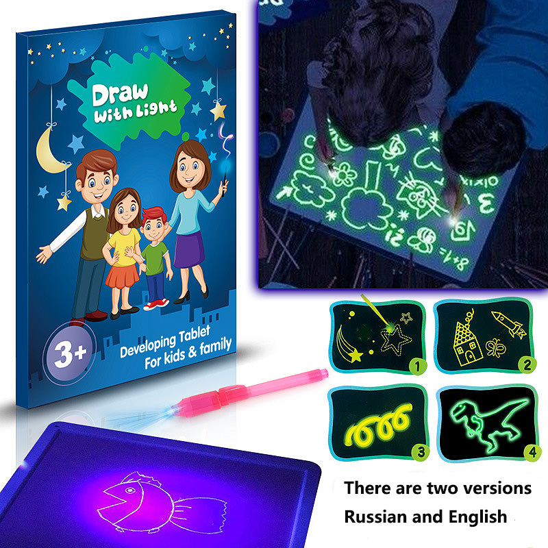A3 A4 A5 Draw With Light In Dark Children Kids Funny Toy Drawing Board Set English Langues 2019 Boys Girls Toy