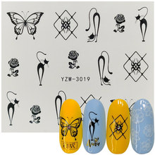 1 Sheet Black Rose Butterfly Spider Water Decal Sticker For Nail Pattern Painting Wrap Paper Foil Tip Tattoo Manicure heart and bear pattern tattoo paper sticker black red