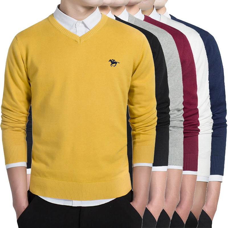 6 Color V-neck Knitted Sweaters Autumn Casual Men Sweaters Pullover Slim Fit Cotton Polo Logo Men Pullover Plus Size M-3XL