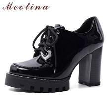 Meotina Shoes Women Genuine Leather Platform Super High Heel Pumps Lace Up Thick Heels Footwear Female Autumn Black Size 42 krazing pot recommend autumn cow leather wedges thick bottom high heels straw sole pumps lace up mixed color oxford shoes l92