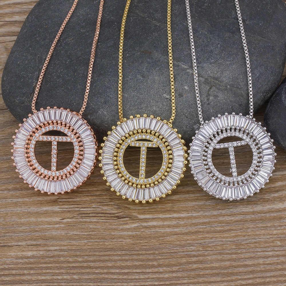 Classico A-Z Iniziali In Oro/Bianco/Oro Rosa 3 Colori Scelta Micro Pavimenta CZ Lettera Nome Del Pendente Della Collana di Fascino gioielli di famiglia Regalo