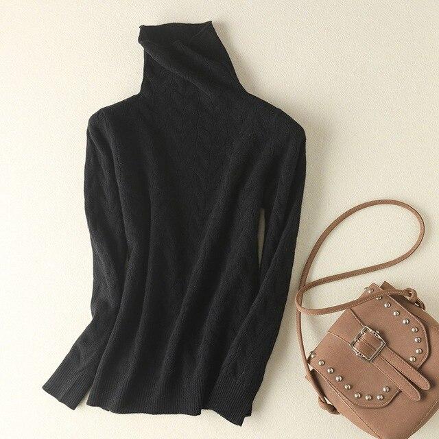 новый тренд шерстяной свитер с ворсом и воротником женский вязаный фотография