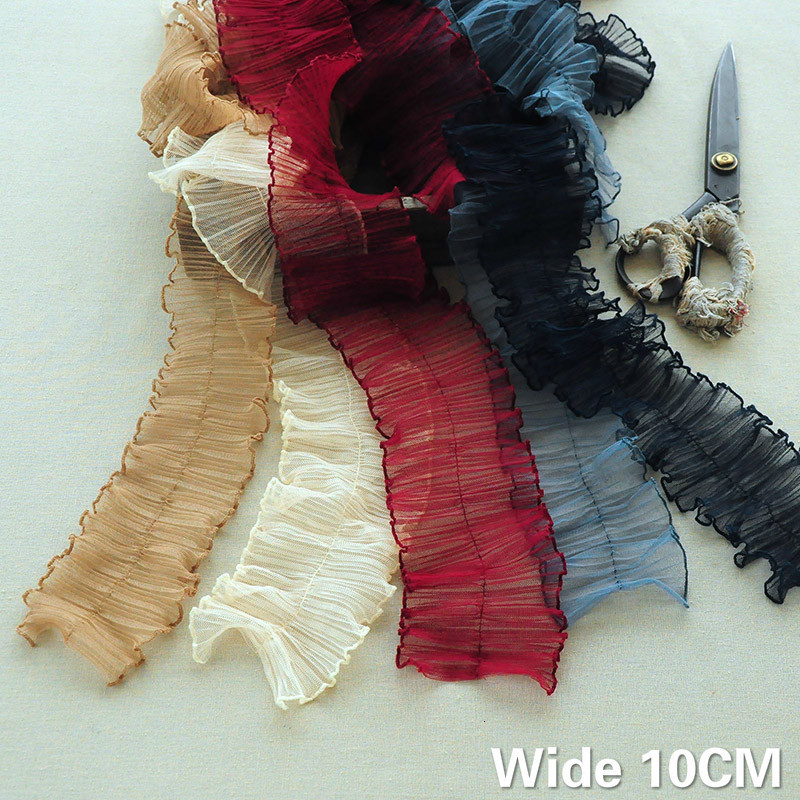10CM Wide Luxury Tulle Pleated Chiffon Fabirc Elastic Ruffle Fringe Lace Edge Trim Dress Collar Ribbon DIY Sewing Guipure Decor(China)